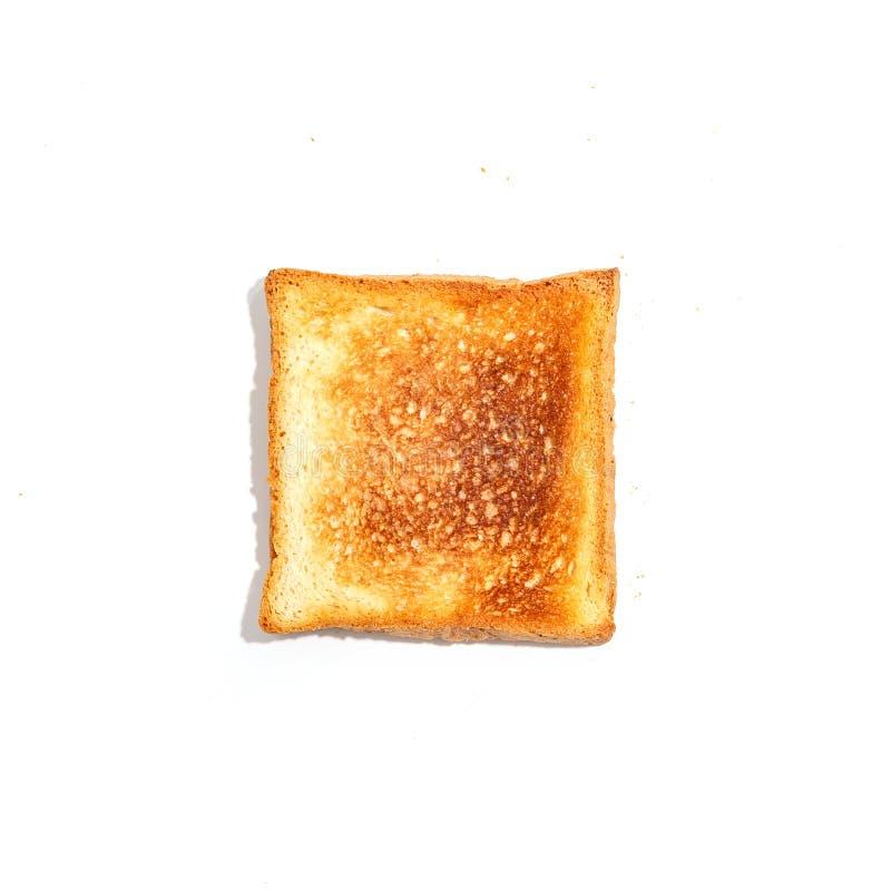 Pan cortado de la tostada aislado en el fondo blanco Visión superior fotografía de archivo libre de regalías