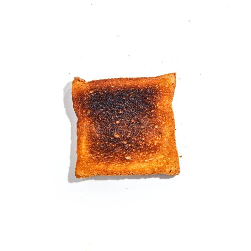 Pan cortado de la tostada aislado en el fondo blanco Visión superior fotografía de archivo
