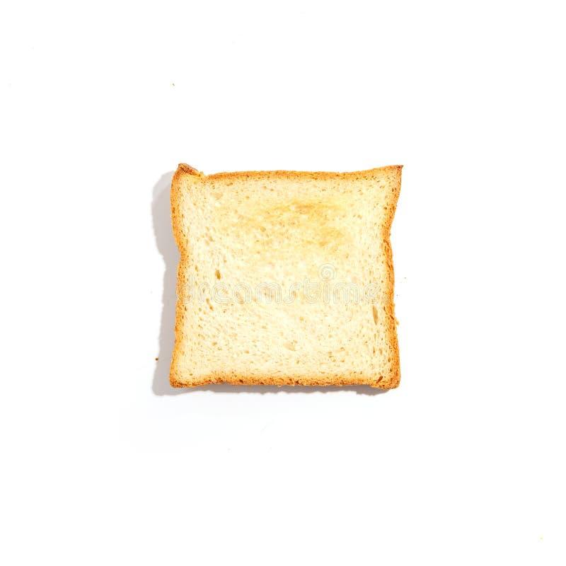 Pan cortado de la tostada aislado en el fondo blanco Visión superior imágenes de archivo libres de regalías