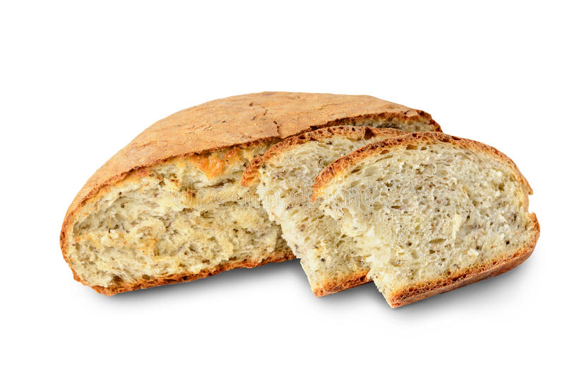 Pan cortado del pan hecho en casa hecho con las hierbas y las especias aisladas en blanco, trayectoria de recortes incluida fotos de archivo