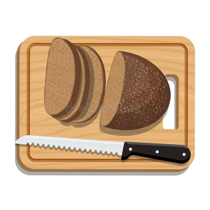 Pan cortado en cortar al tablero con el cuchillo ilustración del vector
