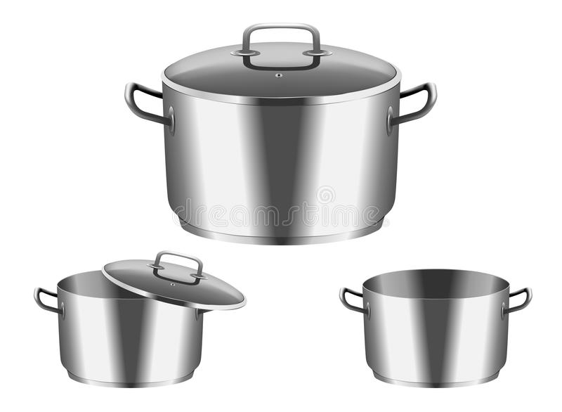 Download Pan with  cover stock vector. Illustration of stove, steel - 23509127