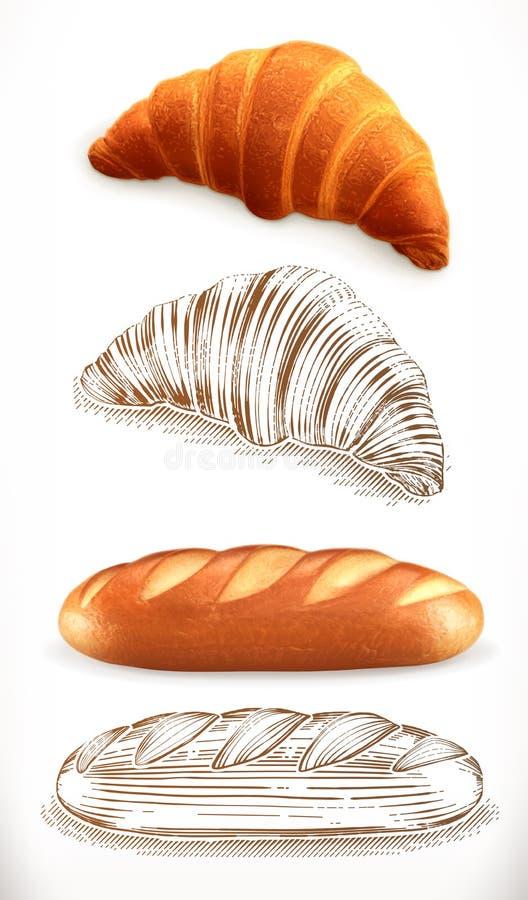 Pan Cruasán, pan estilos del realismo 3d y del grabado Ilustración del vector libre illustration