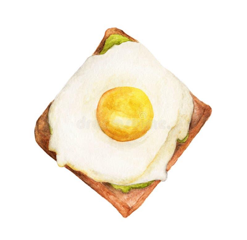 Pan de Brown de la tostada del desayuno y huevo frito stock de ilustración