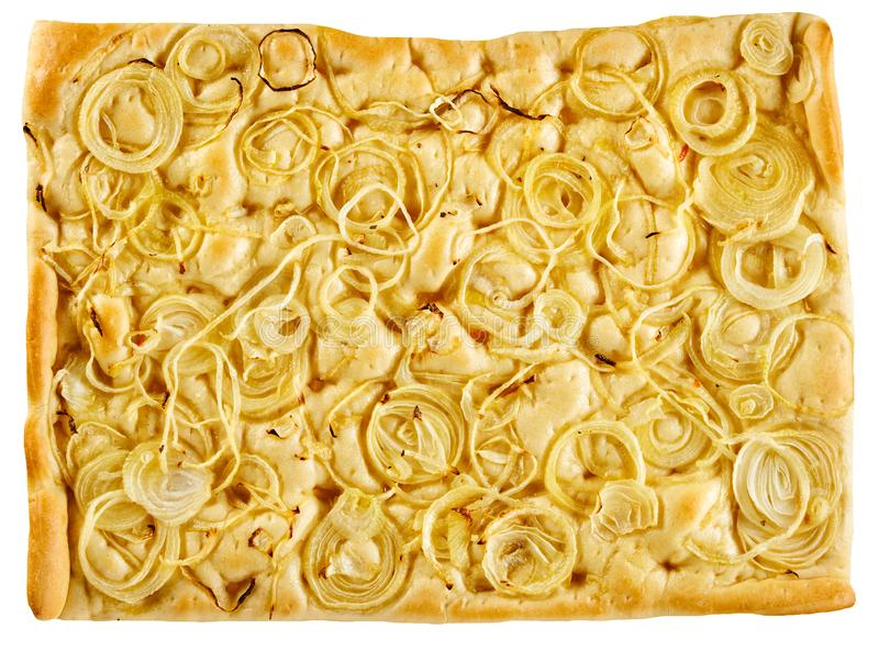 Pan de Focaccia del italiano rematado con los anillos de cebolla foto de archivo libre de regalías