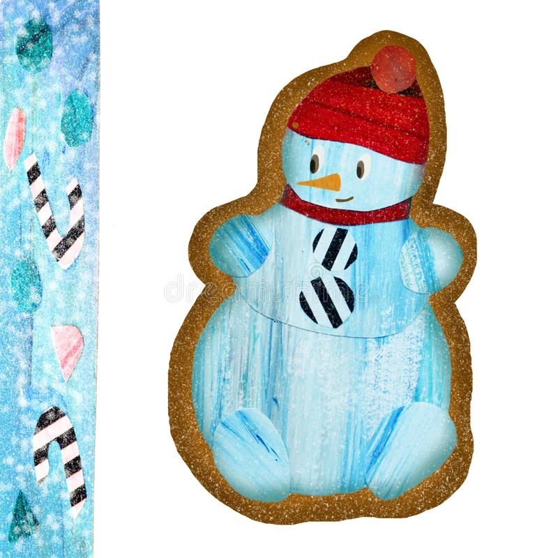 Pan de jengibre con el muñeco de nieve stock de ilustración