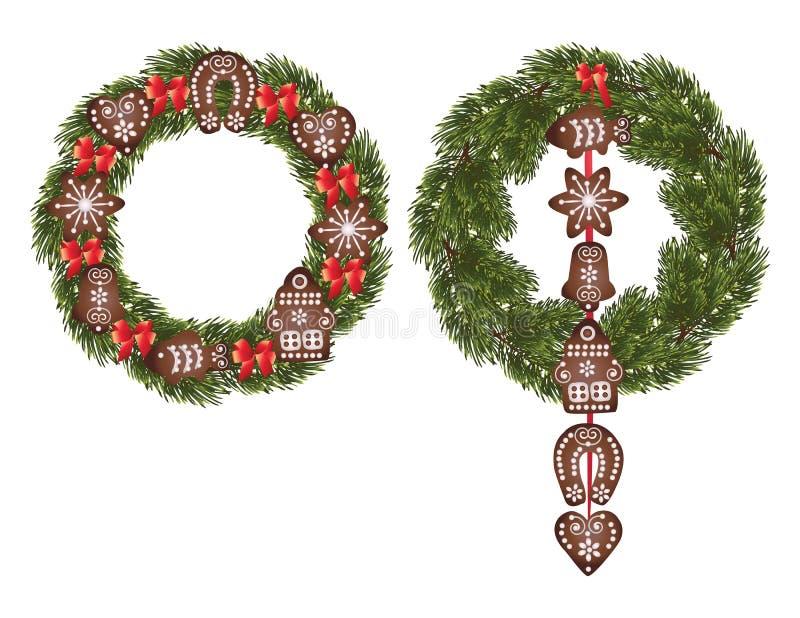 Pan de jengibre de la Navidad stock de ilustración