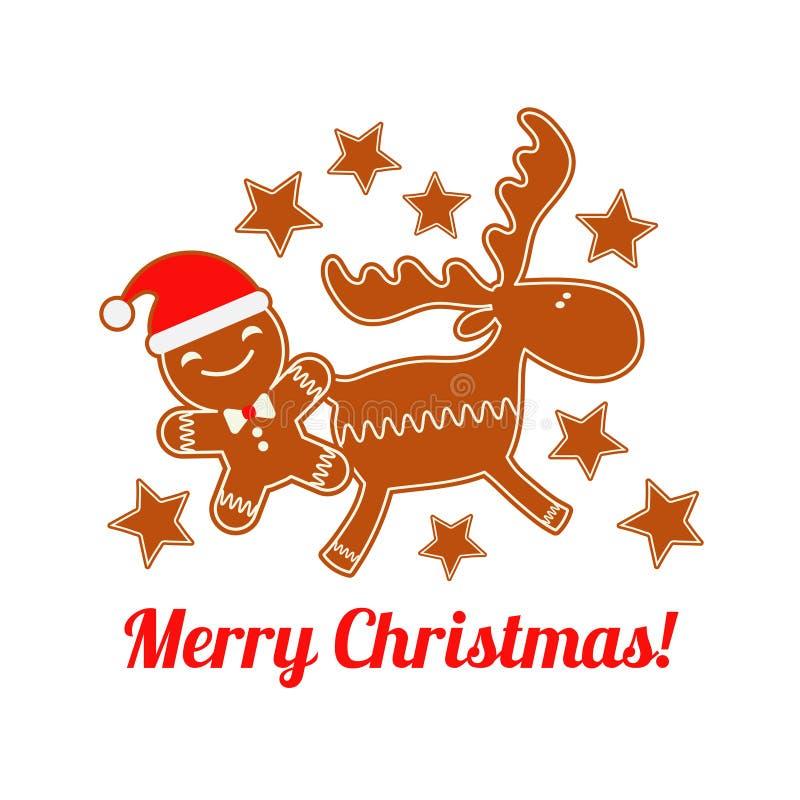 Pan de jengibre de la Navidad del cartel en un fondo blanco Gingerman de la Navidad Pan de jengibre lindo de la historieta stock de ilustración