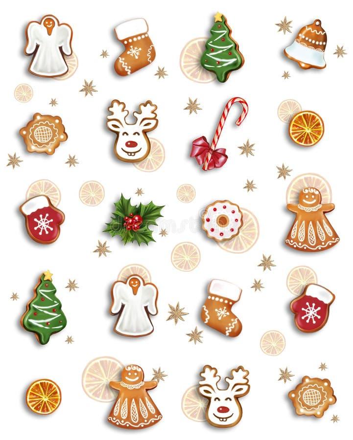 Pan de jengibre y dulces de la Navidad ilustración del vector