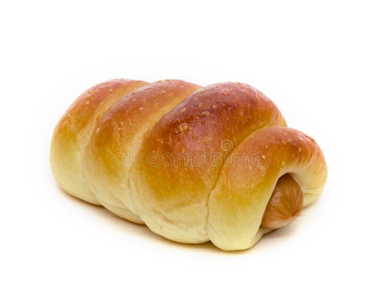Pan de la salchicha aislado en el fondo blanco foto de archivo libre de regalías