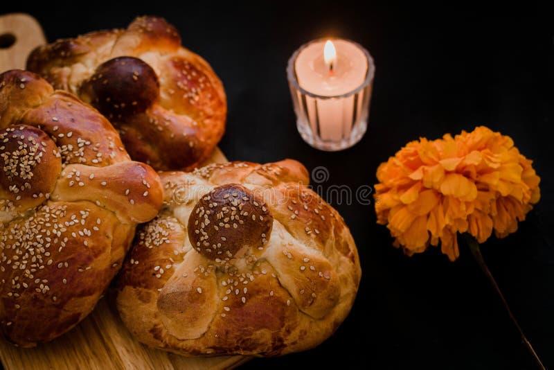 Pan de Muerto Mexico, Mexican sweet Bread during Day of the Dead festivities. Dia de muertos stock photo