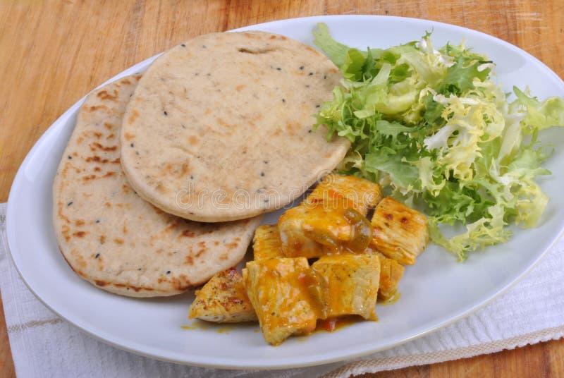 Pan de Naan con curry del pavo foto de archivo