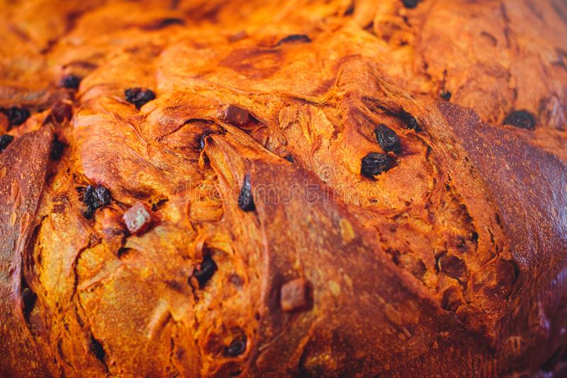 Pan de oro con las pasas primer, textura de la corteza del pan hecho en casa fotografía de archivo libre de regalías