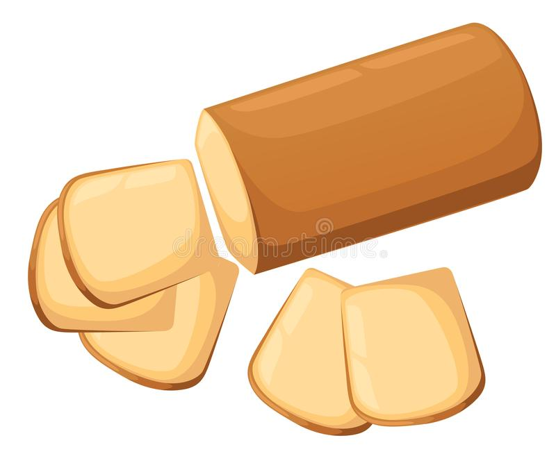 Pan del pan blanco y cortado en un fondo blanco Vector el ejemplo, productos de la panadería hechos en fondo blanco aislado libre illustration