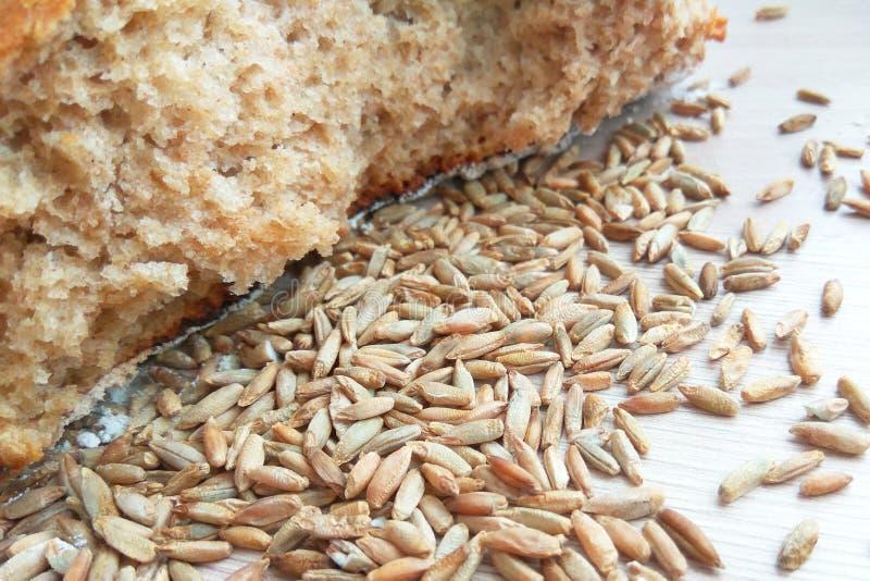 Pan del pan cocido fresco del trigo y de centeno con los granos en fondo de madera de la tabla fotografía de archivo