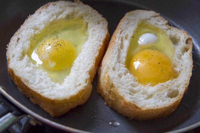 Pan del huevo frito foto de archivo libre de regalías