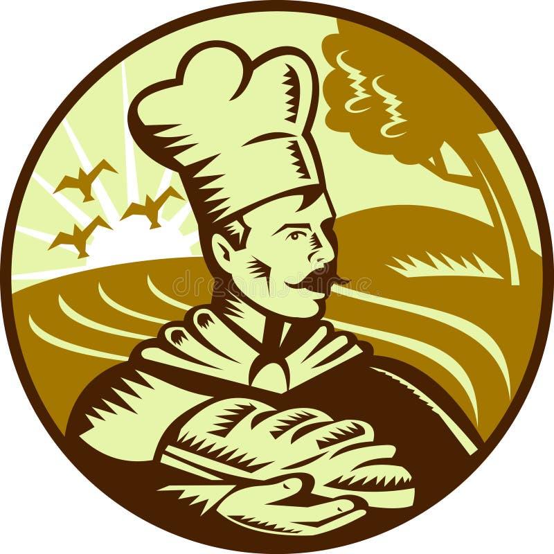 Pan del panadero del pan con la granja libre illustration