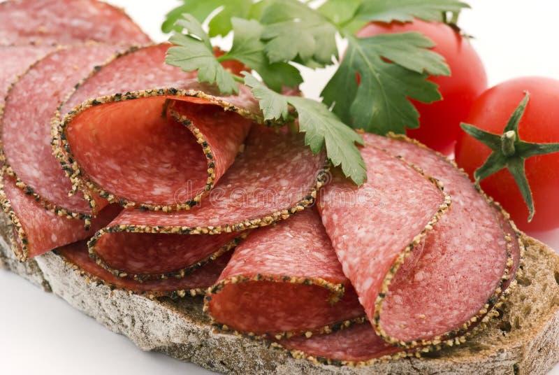 Pan del salami imagen de archivo libre de regalías