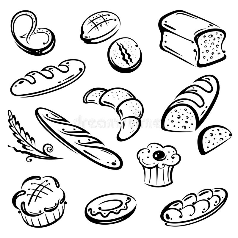 Pan, desayuno stock de ilustración
