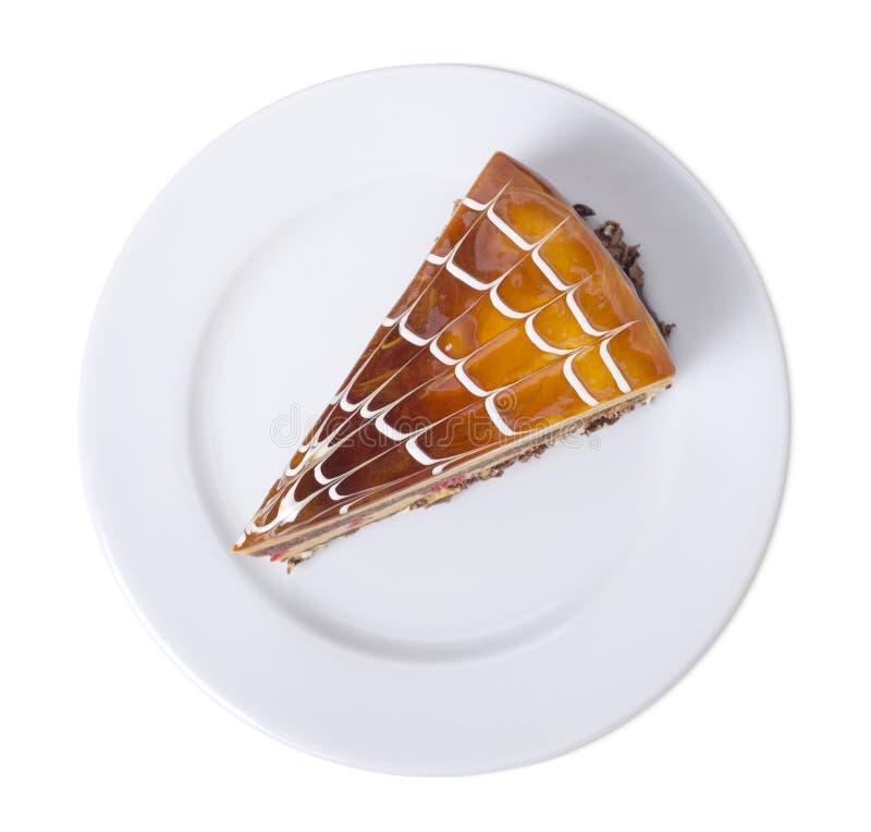 Pan di Spagna delizioso del budino del cappuccino in un piatto bianco immagini stock libere da diritti