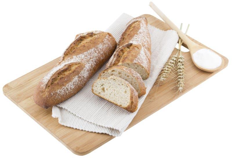 pan en tablón de madera de la cocina imagen de archivo