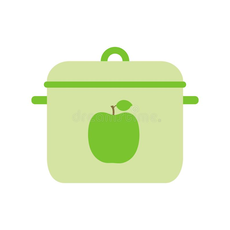 Pan. Flat style dishes. Green apple. Metal or plastic sample. Color illustration. Vector icon stock illustration