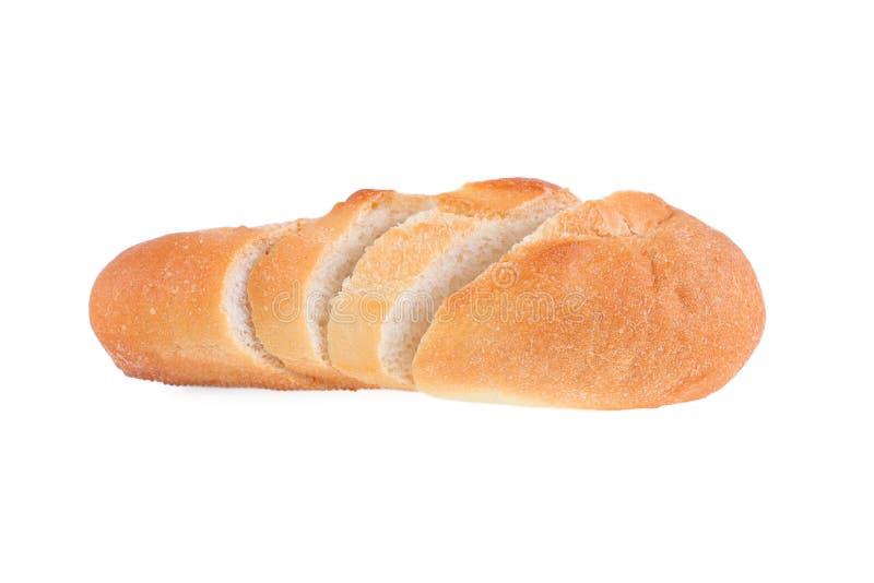 Pan francés cortado aislado en blanco fotografía de archivo