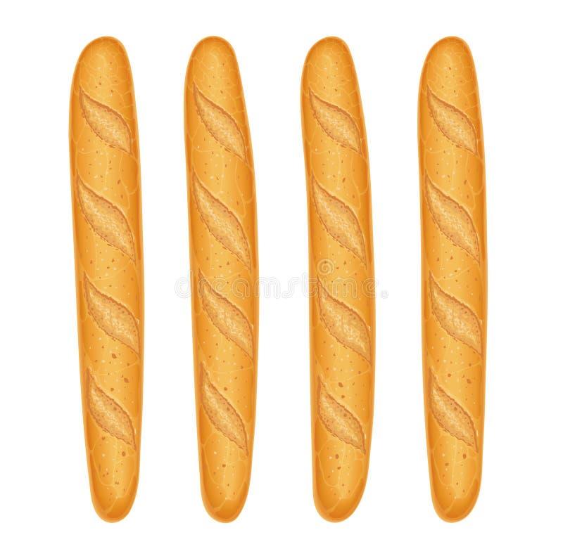 Pan francés del baguette Hornada fresca Fije de la comida sabrosa Ilustración del vector stock de ilustración