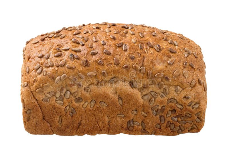 Pan fresco con las semillas de girasol en un fondo blanco imagenes de archivo