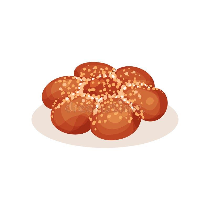 Pan fresco con las semillas de sésamo, ejemplo del pan del vector del producto de pasteles de la panadería en un fondo blanco ilustración del vector