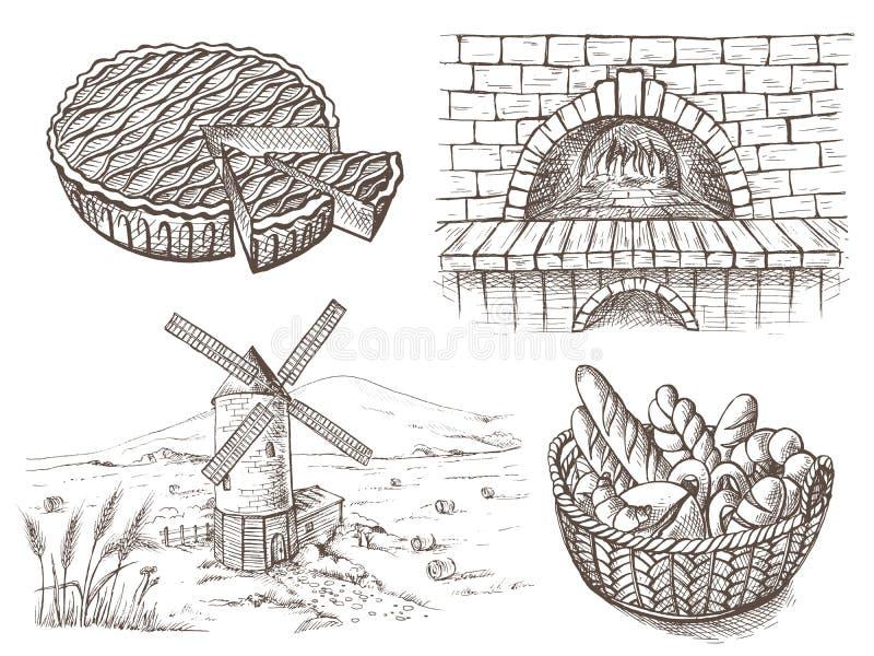 Pan fresco y un molino de viento del horno libre illustration
