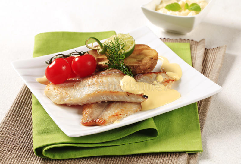 Download Pan fried fish fillets stock photo. Image of hollandaise - 20715642