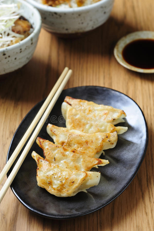 Download Pan-fried Gyoza With Dipping Sauce Stock Image - Image: 26939831