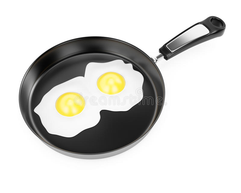 Pan with fried vector illustration