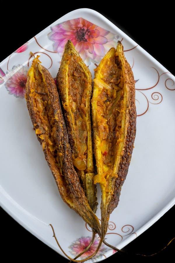 Pan Fried Karela Bitter Gourd stock afbeelding