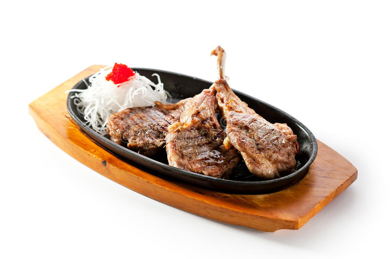 Pan-Fried Lamb Chops arkivfoton