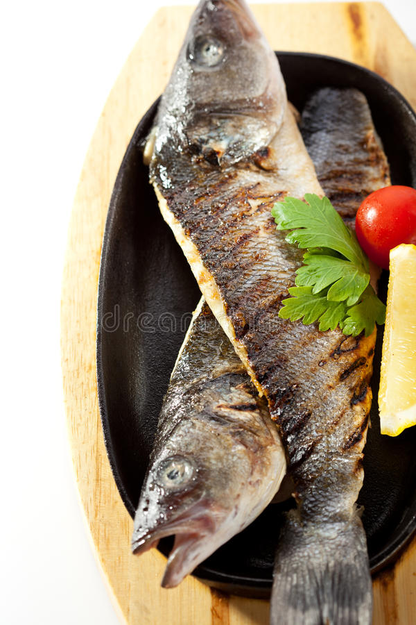 Pan-Fried Sea Bass stock photo