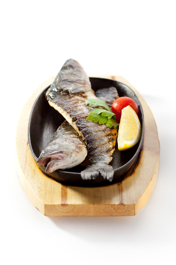 Pan-Fried Sea Bass royalty free stock photo