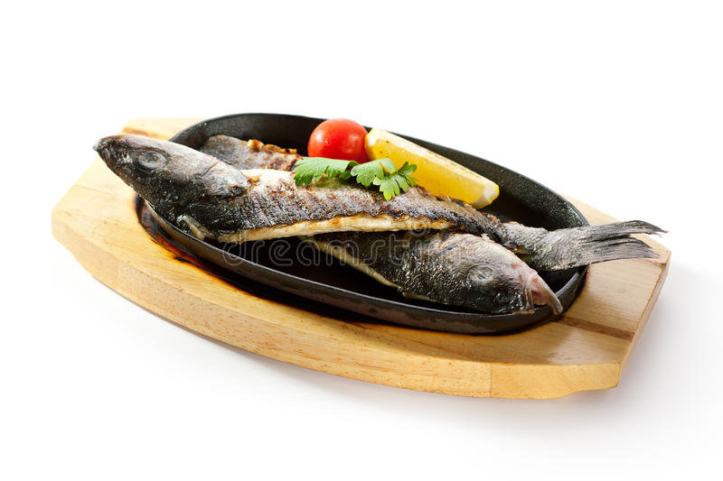 Pan-Fried Sea Bass stock photos