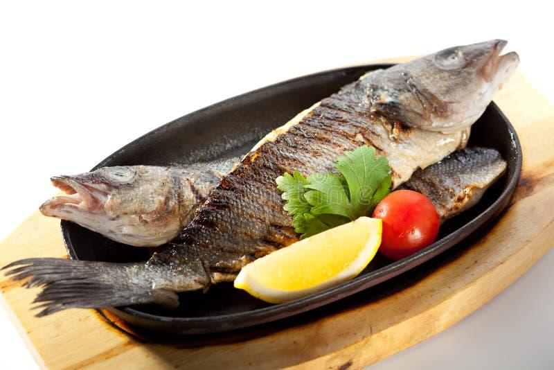 Pan-Fried Sea Bass stock photography