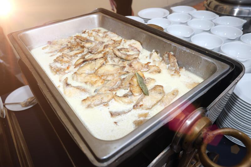 Pan Fried Sole Horseradish Sauce for , Seminar, Coffee Break, Breakfast, Lunch, Dinner, Buffet and meeting Group along the. Pan Fried Sole Horseradish Sauce for stock photo