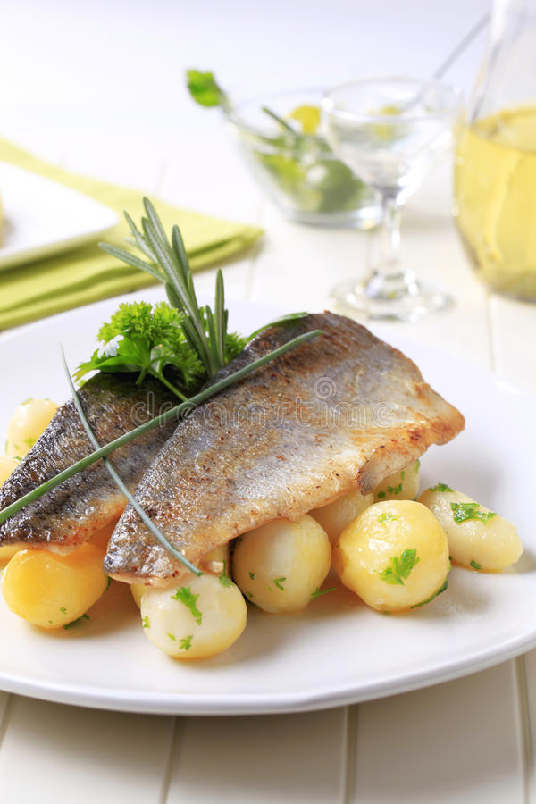 Pan fried trout fillets with potatoes royalty free stock image