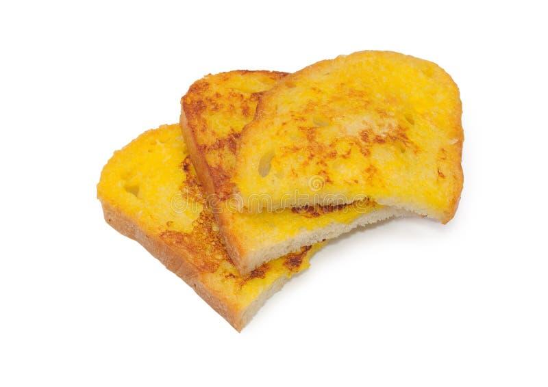 Pan frito en el huevo fotografía de archivo