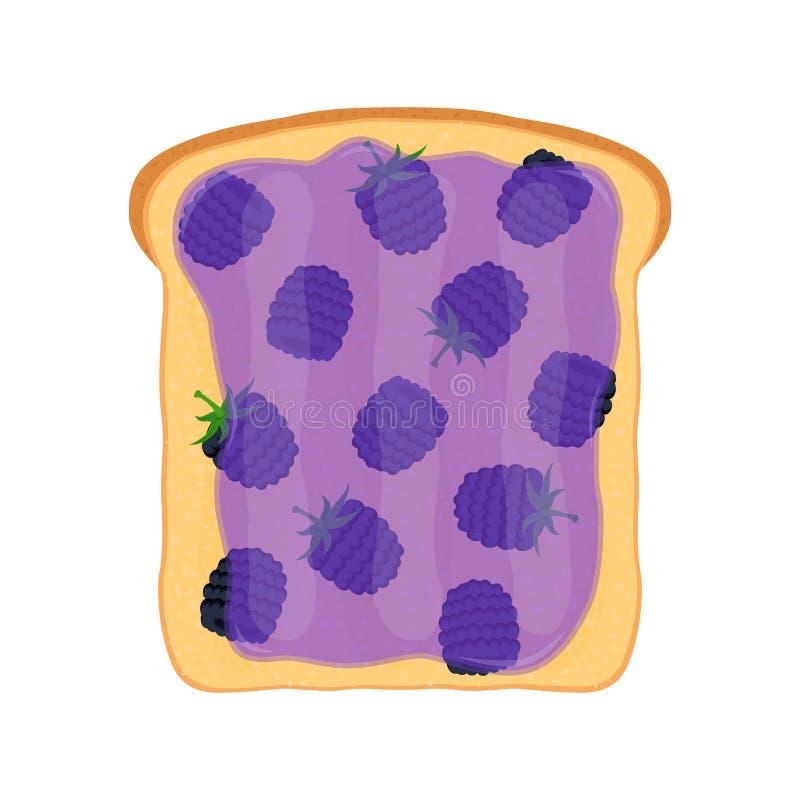 Pan frito, tostada con el atasco de la zarzamora Goma de la jalea Estilo plano ilustración del vector