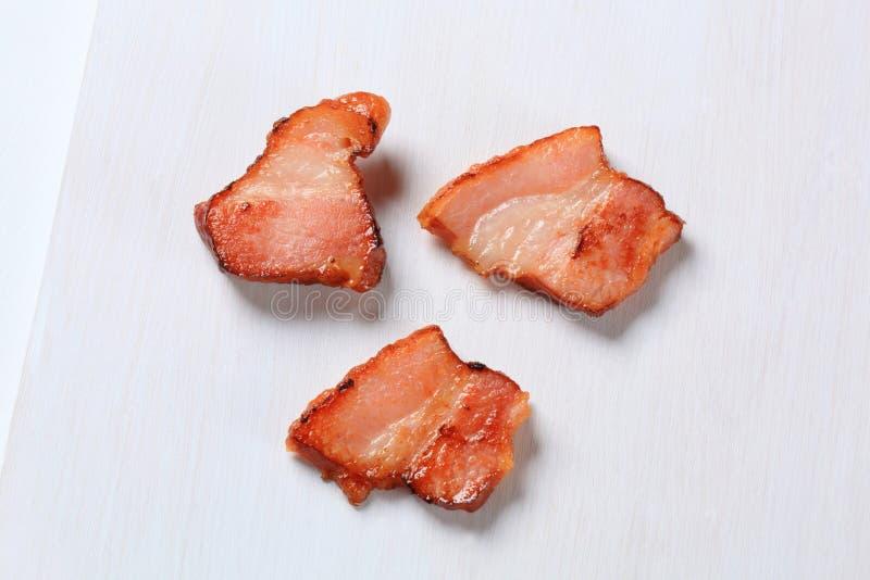 Pan gebraden bacon royalty-vrije stock foto's