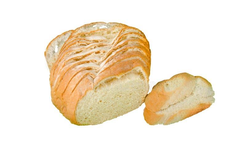 Pan hecho en casa con la flor en las rebanadas aisladas en blanco fotos de archivo libres de regalías