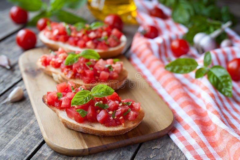 Pan italiano tradicional del vegetariano del bruschetta imagen de archivo libre de regalías
