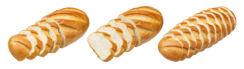 Pan largo Pan blanco cortado aislado en el fondo blanco imágenes de archivo libres de regalías