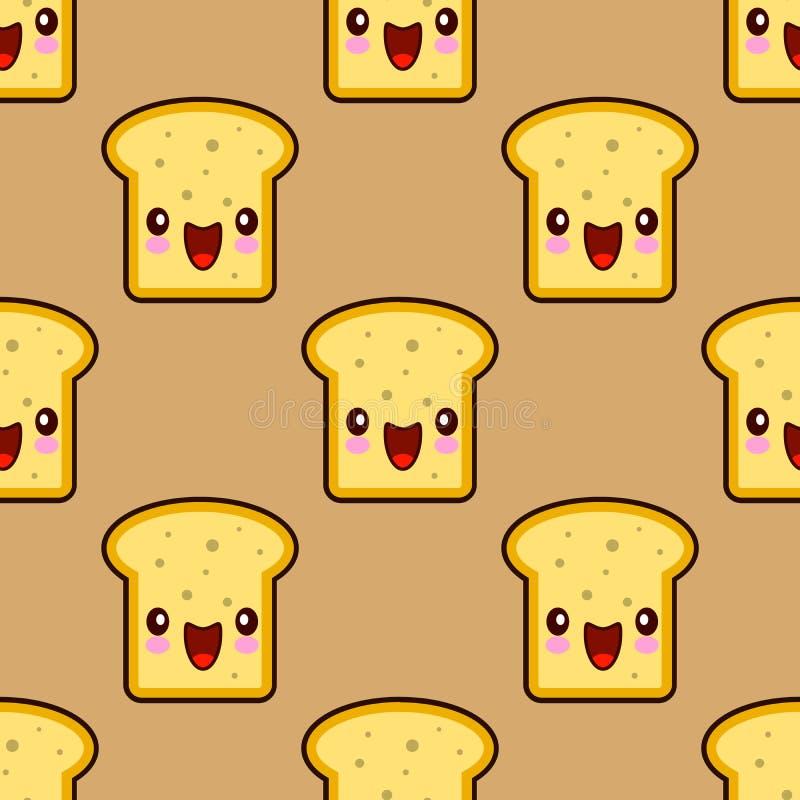 Pan lindo de la tostada para el personaje de dibujos animados sonriente del kawaii del desayuno ilustración del vector