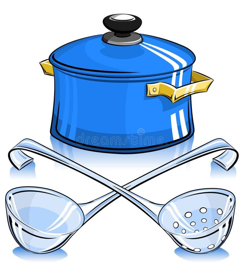 Pan met deksel en gietlepel stock illustratie